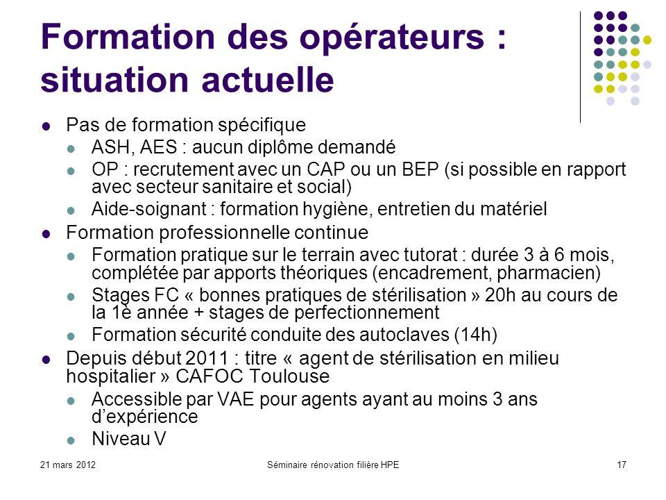Formation des opérateurs : situation actuelle