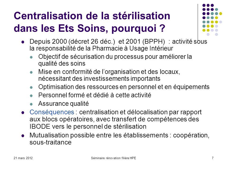 Centralisation de la stérilisation dans les Ets Soins, pourquoi