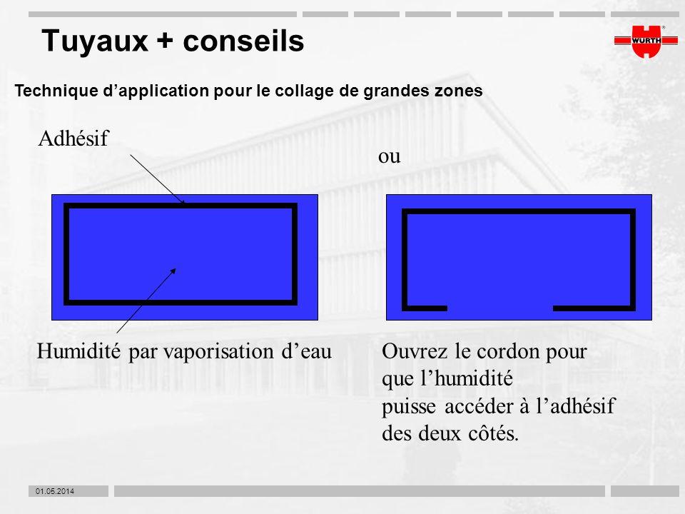 Tuyaux + conseils Adhésif ou Humidité par vaporisation d'eau