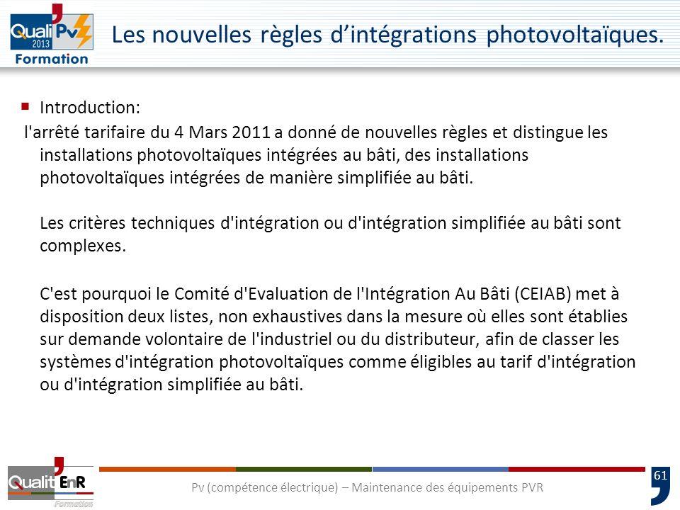 Les nouvelles règles d'intégrations photovoltaïques.