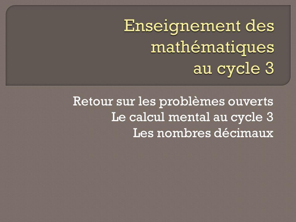 Enseignement des mathématiques au cycle 3
