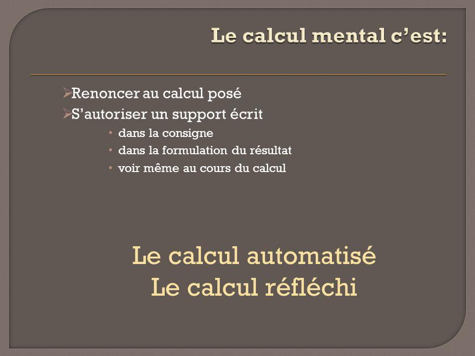 Le calcul mental c'est: