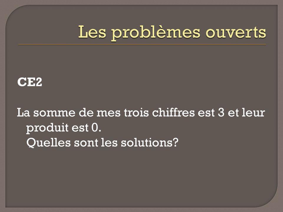 Les problèmes ouverts CE2