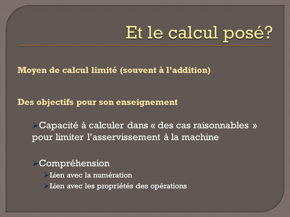 Et le calcul posé Moyen de calcul limité (souvent à l'addition) Des objectifs pour son enseignement.