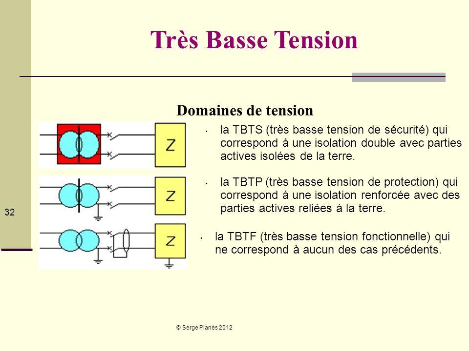 Très Basse Tension Domaines de tension Préciser TBTS u est sup à 25V