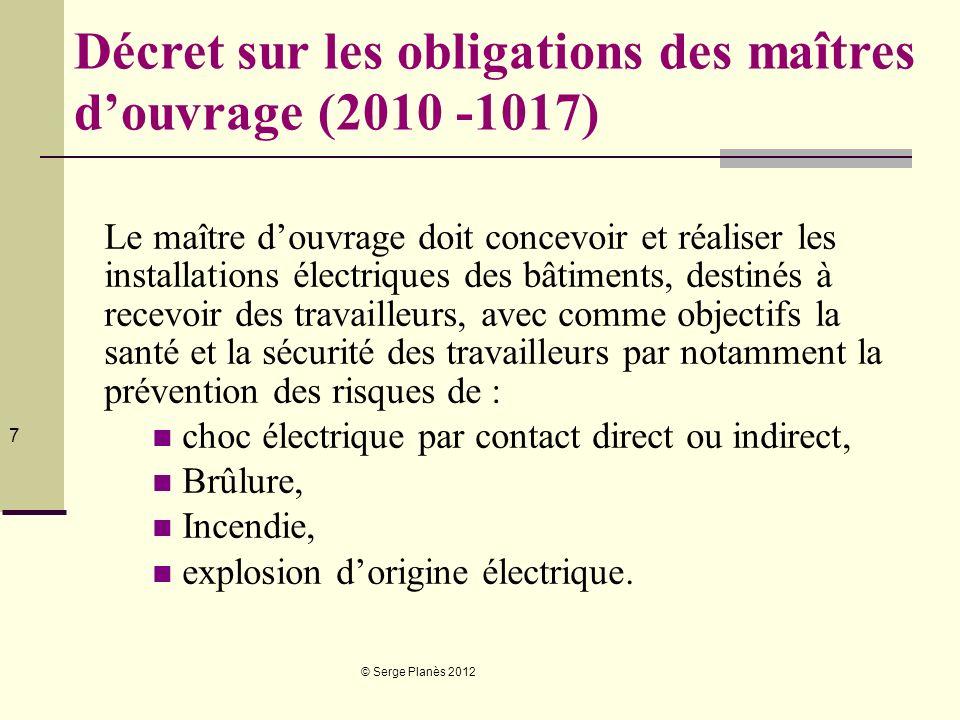 Décret sur les obligations des maîtres d'ouvrage (2010 -1017)