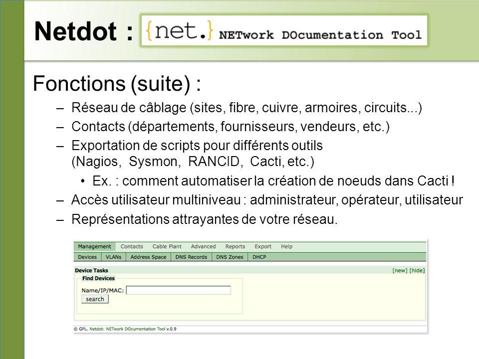 Netdot : Fonctions (suite) :