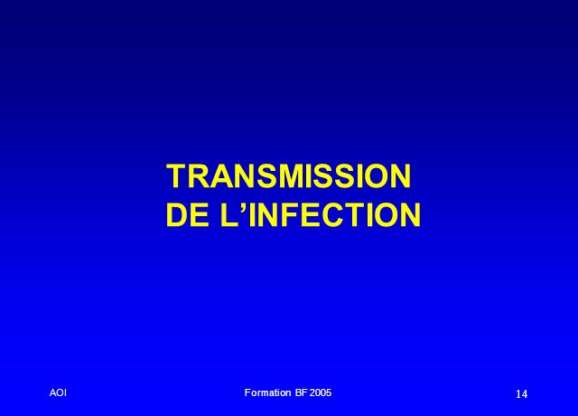 TRANSMISSION DE L'INFECTION