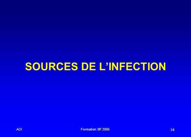 SOURCES DE L'INFECTION