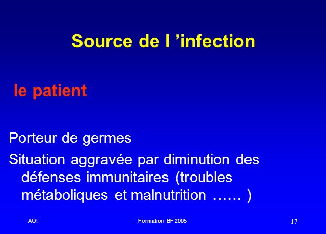Source de l 'infection le patient Porteur de germes