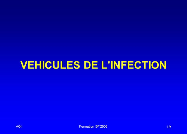VEHICULES DE L'INFECTION