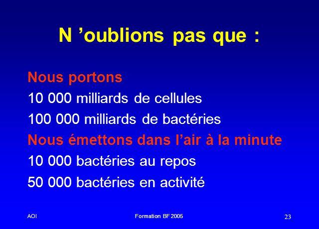 N 'oublions pas que : Nous portons 10 000 milliards de cellules