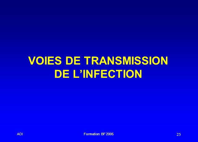 VOIES DE TRANSMISSION DE L'INFECTION