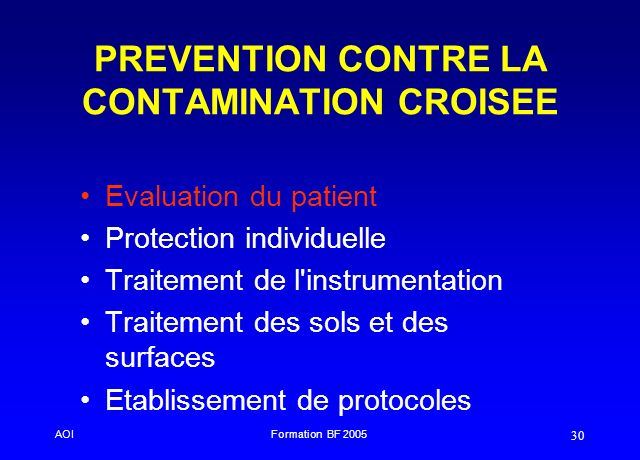PREVENTION CONTRE LA CONTAMINATION CROISEE