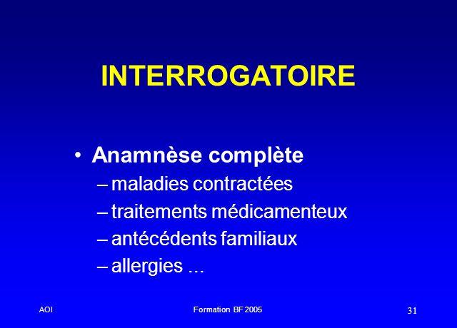 INTERROGATOIRE Anamnèse complète maladies contractées