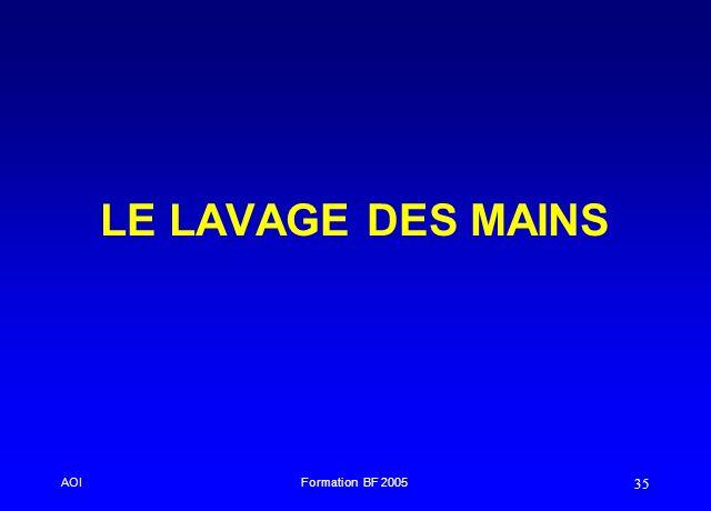 LE LAVAGE DES MAINS AOI Formation BF 2005