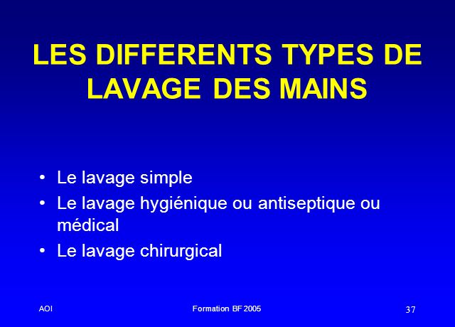 LES DIFFERENTS TYPES DE LAVAGE DES MAINS