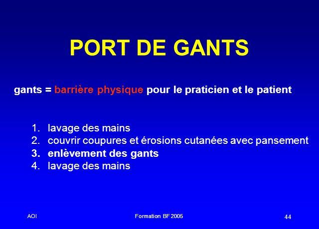 PORT DE GANTS gants = barrière physique pour le praticien et le patient. lavage des mains. couvrir coupures et érosions cutanées avec pansement.