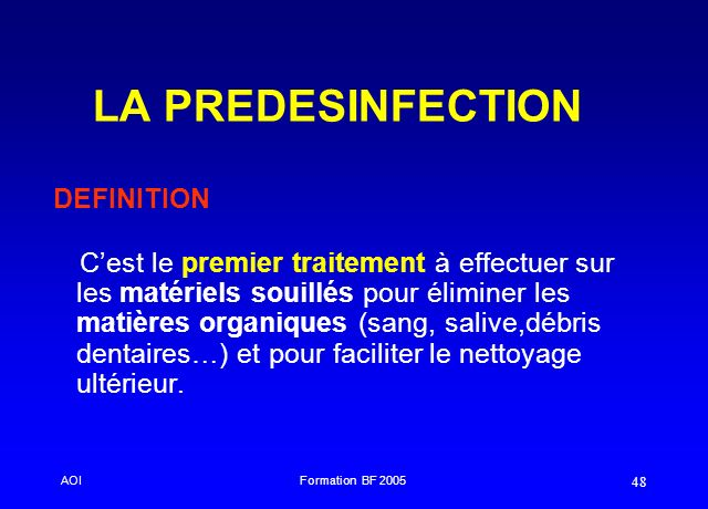 LA PREDESINFECTION DEFINITION