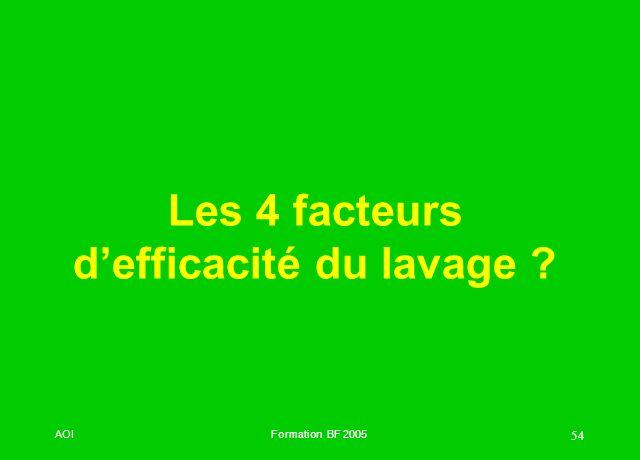Les 4 facteurs d'efficacité du lavage