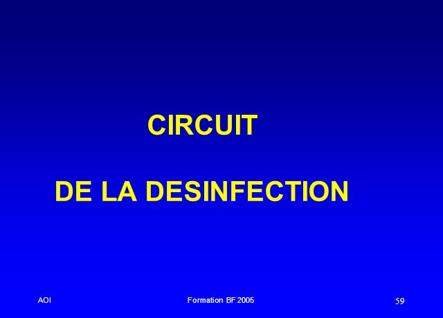 CIRCUIT DE LA DESINFECTION
