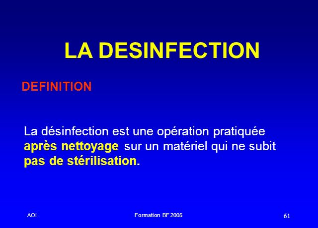LA DESINFECTION DEFINITION