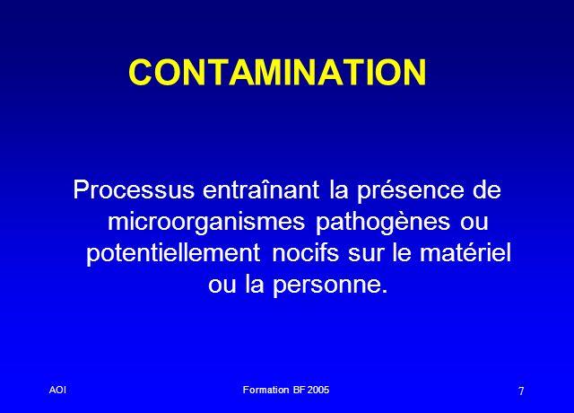 CONTAMINATION Processus entraînant la présence de microorganismes pathogènes ou potentiellement nocifs sur le matériel ou la personne.