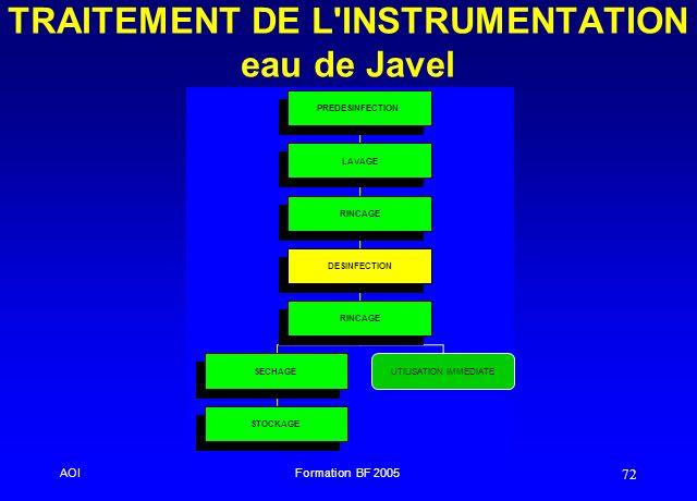 TRAITEMENT DE L INSTRUMENTATION eau de Javel