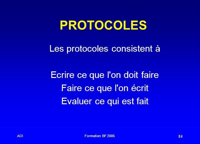 PROTOCOLES Les protocoles consistent à Ecrire ce que l on doit faire
