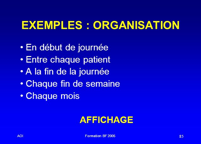 EXEMPLES : ORGANISATION