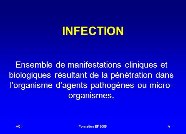 INFECTION Ensemble de manifestations cliniques et biologiques résultant de la pénétration dans l'organisme d'agents pathogènes ou micro-organismes.