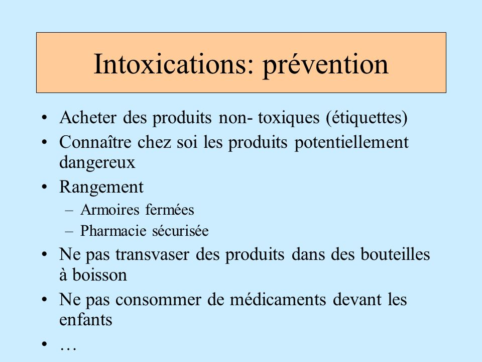 Intoxications: prévention