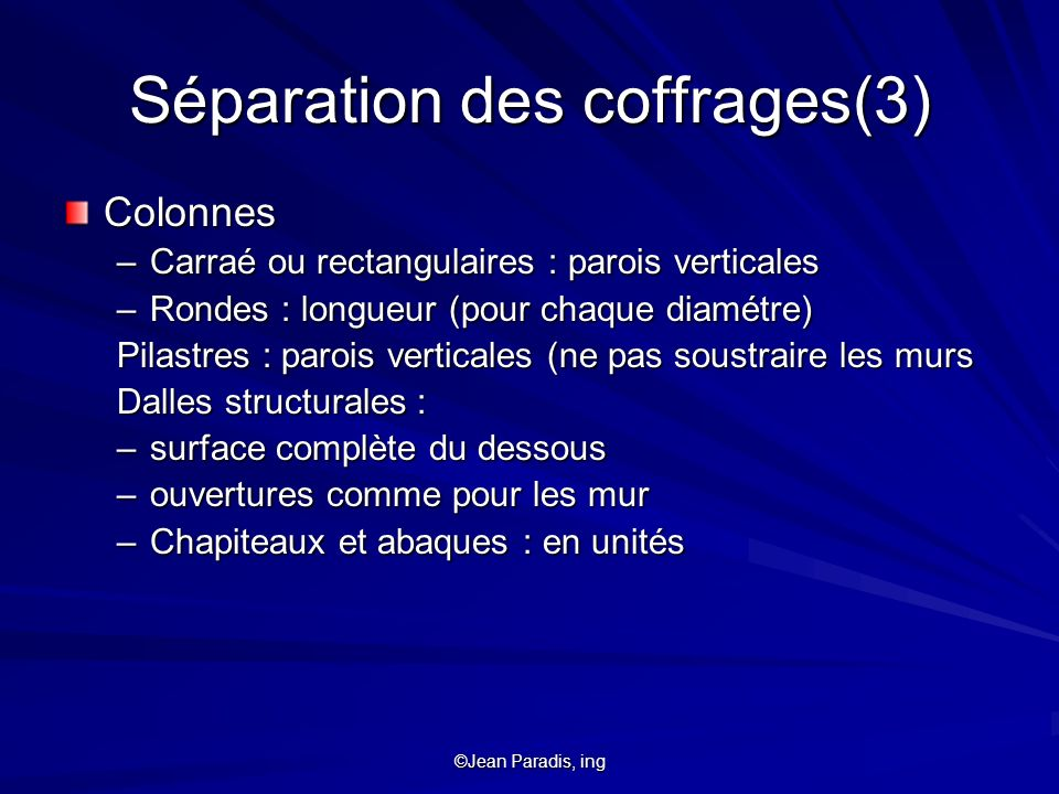 Séparation des coffrages(3)