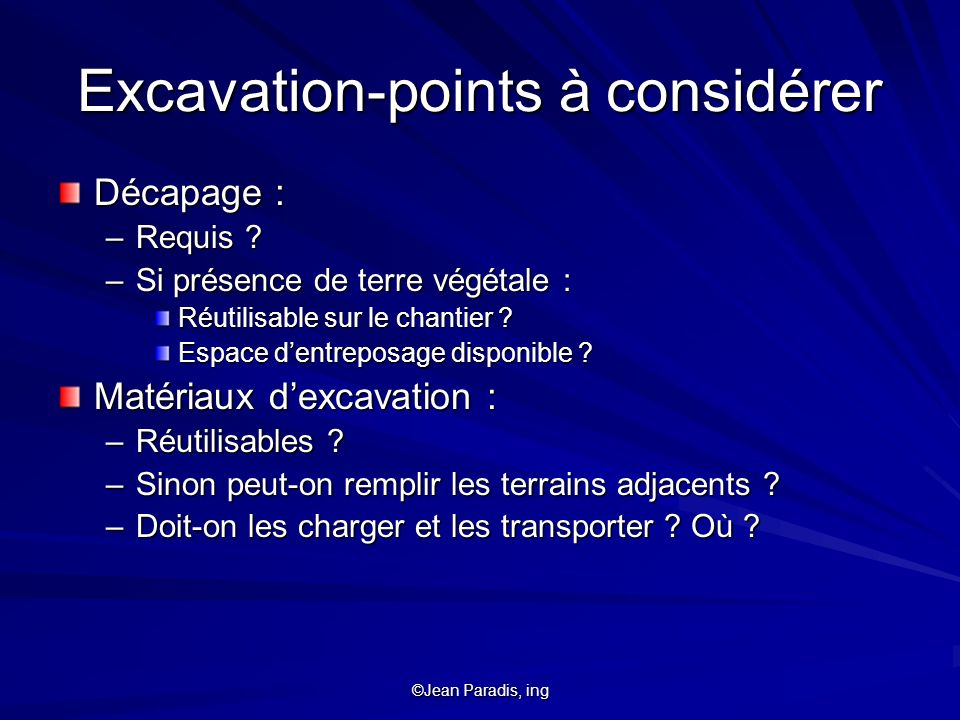 Excavation-points à considérer