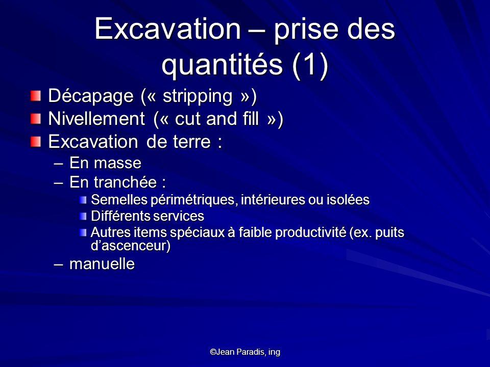 Excavation – prise des quantités (1)