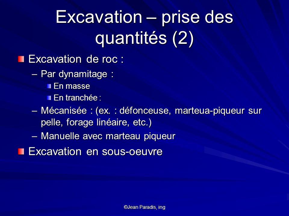 Excavation – prise des quantités (2)