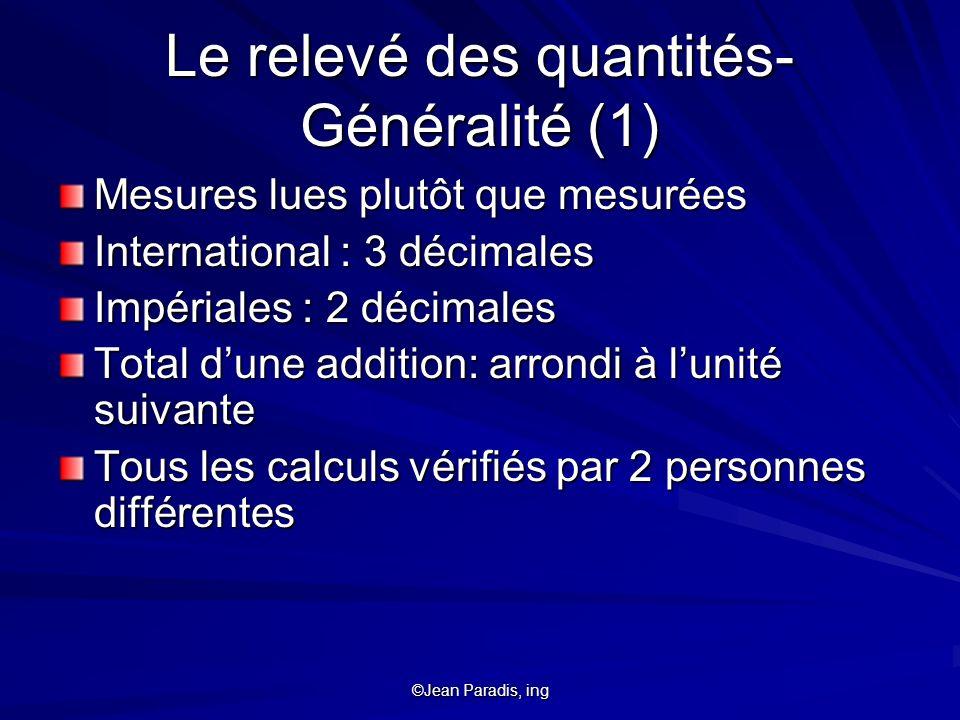 Le relevé des quantités- Généralité (1)