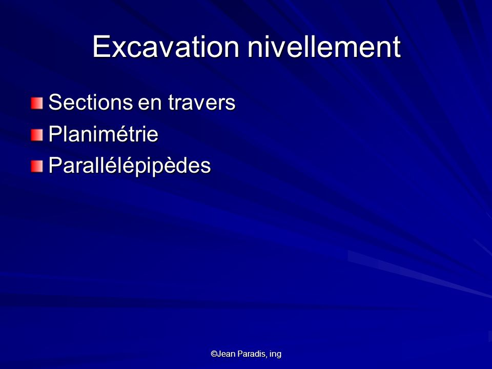 Excavation nivellement