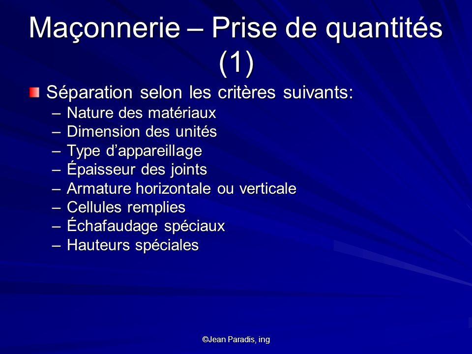 Maçonnerie – Prise de quantités (1)
