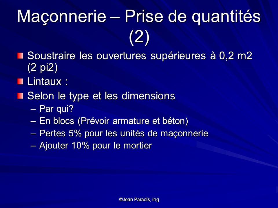 Maçonnerie – Prise de quantités (2)