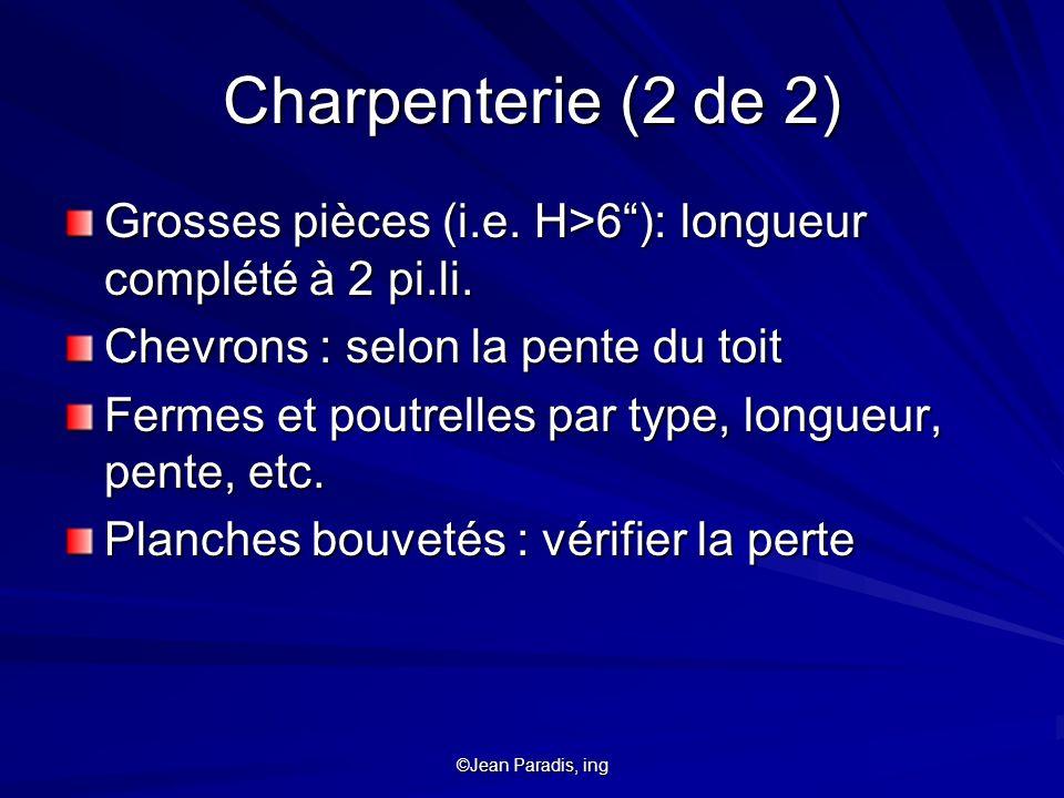 Charpenterie (2 de 2) Grosses pièces (i.e. H>6 ): longueur complété à 2 pi.li. Chevrons : selon la pente du toit.