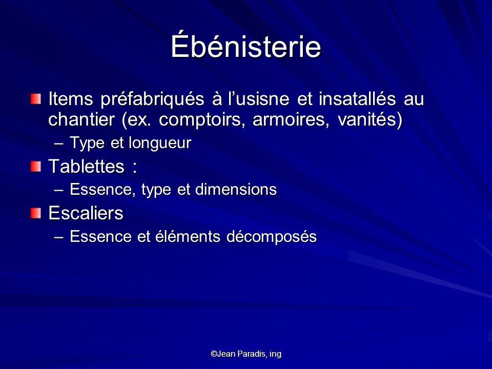 Ébénisterie Items préfabriqués à l'usisne et insatallés au chantier (ex. comptoirs, armoires, vanités)