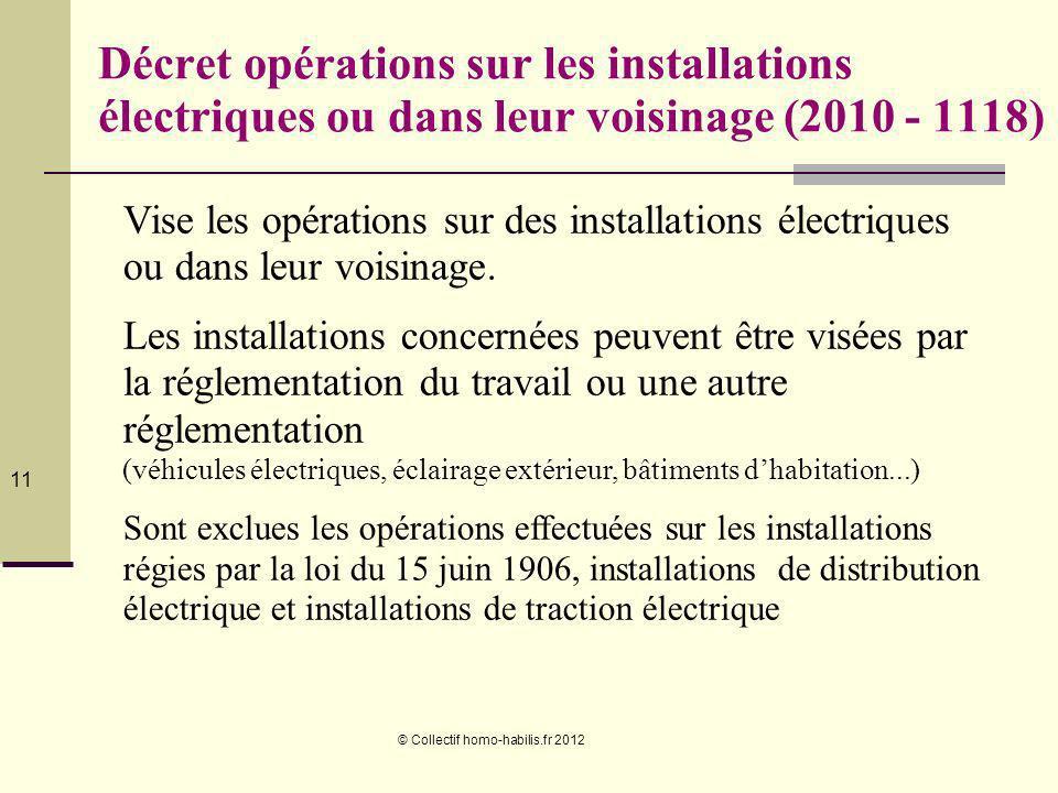 Décret opérations sur les installations électriques ou dans leur voisinage (2010 - 1118)