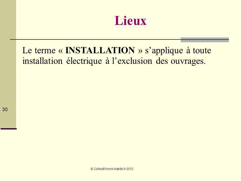 Lieux Le terme « INSTALLATION » s'applique à toute installation électrique à l'exclusion des ouvrages.