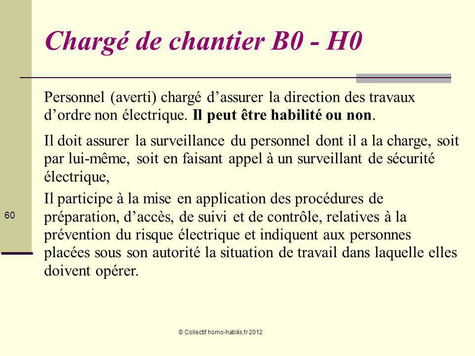 Chargé de chantier B0 - H0 Personnel (averti) chargé d'assurer la direction des travaux d'ordre non électrique. Il peut être habilité ou non.