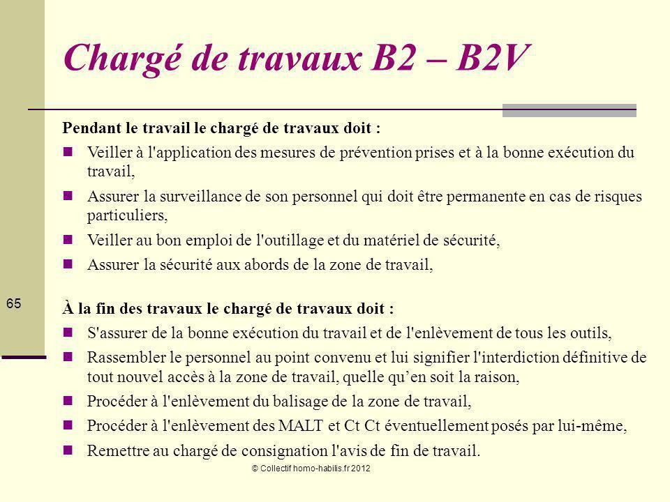 Chargé de travaux B2 – B2V Pendant le travail le chargé de travaux doit :