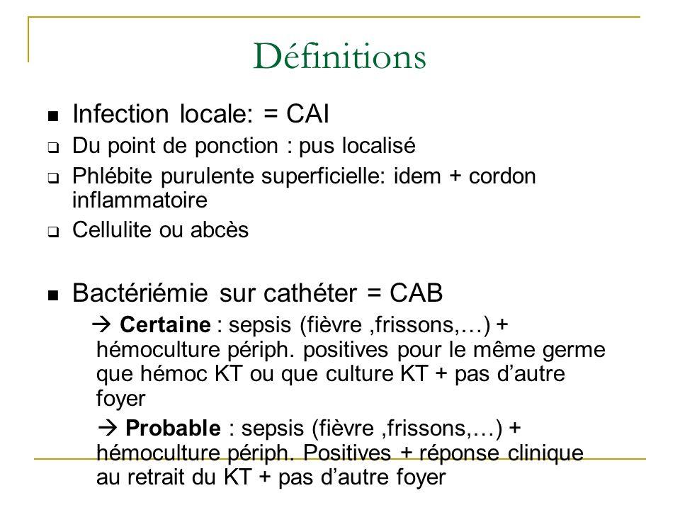 Définitions Infection locale: = CAI Bactériémie sur cathéter = CAB