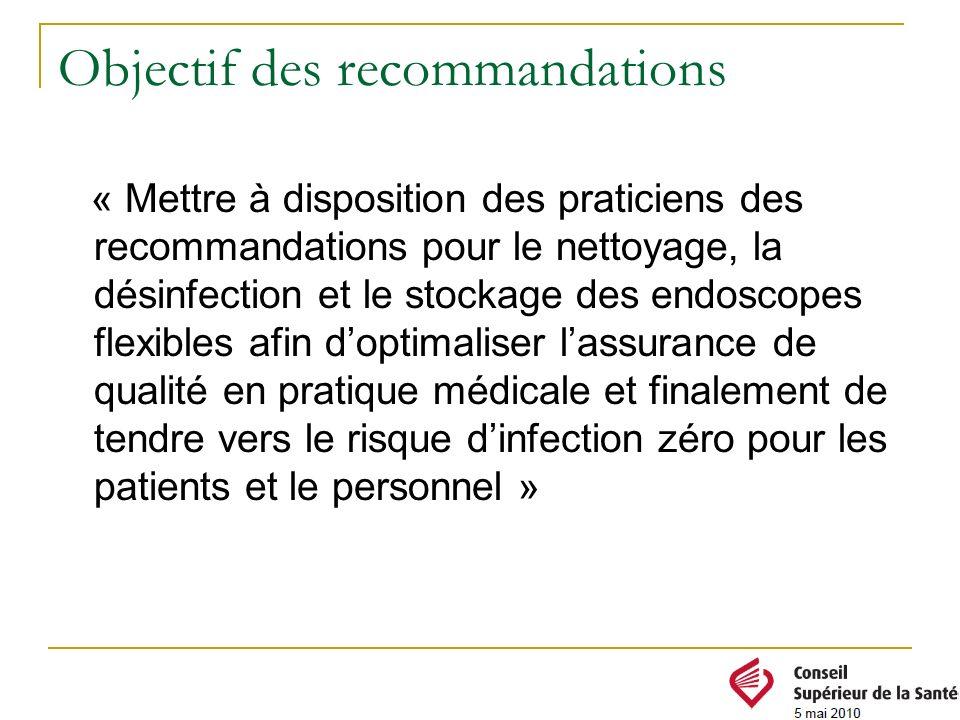 Objectif des recommandations