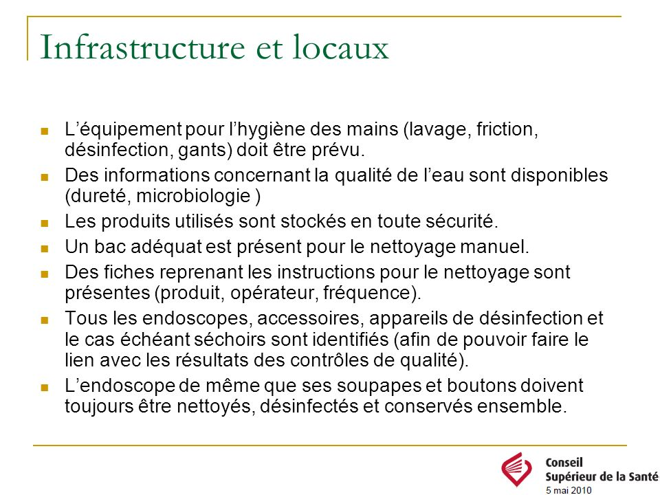 Infrastructure et locaux