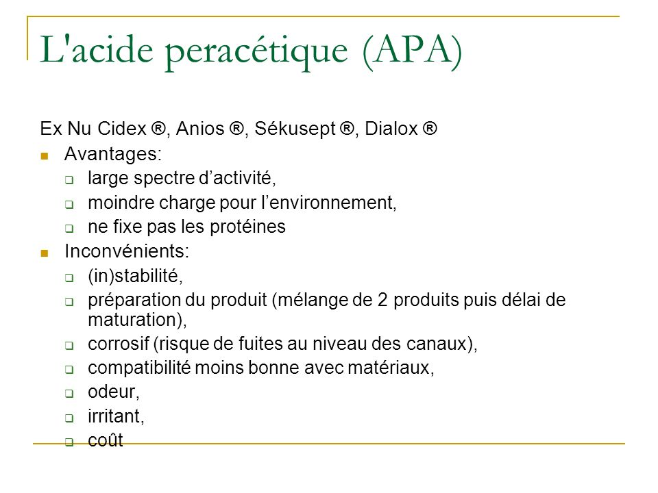 L acide peracétique (APA)